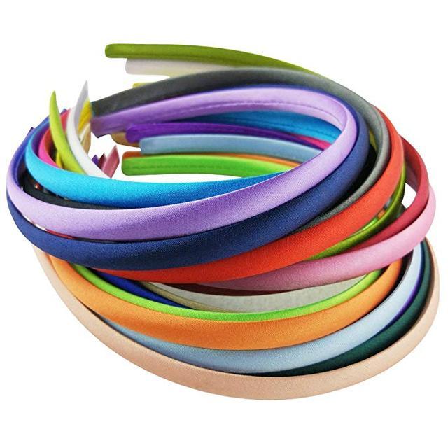 Hixixi Satin Fabric Covered Ribbon Headbands Hairband