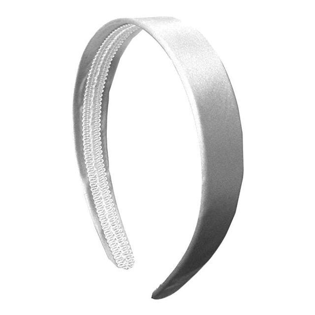 Motique Accessories White 1 Inch Satin Hard Headband
