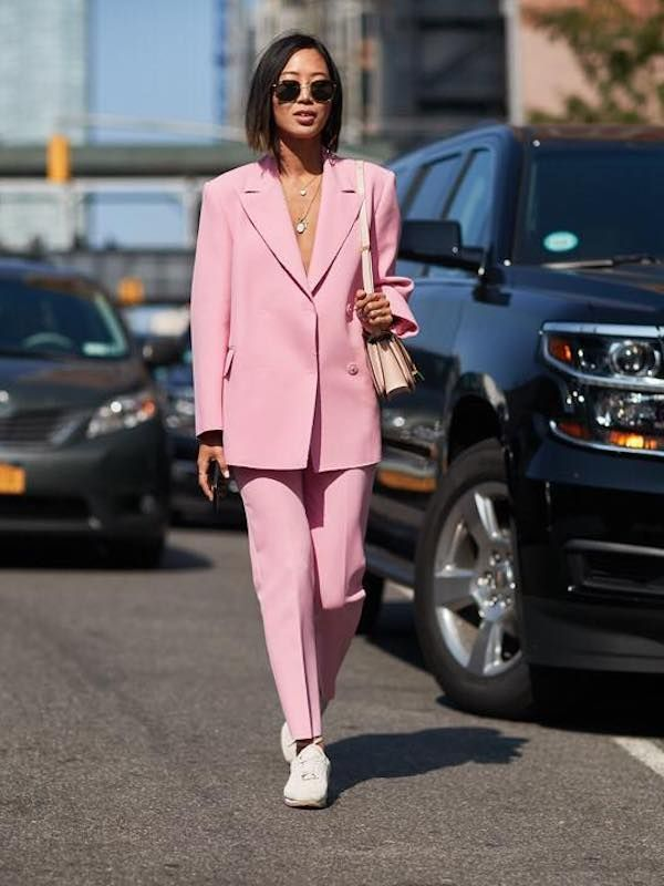 Aimee Song in a Party-Ready Pink Suit With Sneakers
