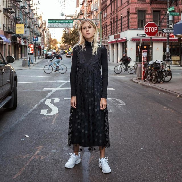 How to Wear a Black Dress and Sneakers
