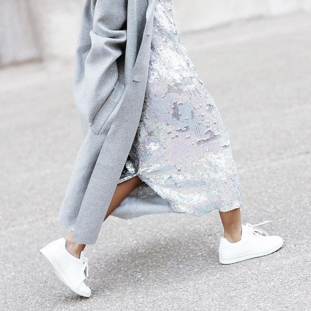How to Wear a Sequined Dress and Sneakers for the Holidays