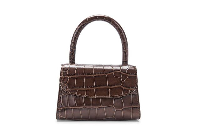 By Far Mini Nutella Croco Embossed Leather Bag