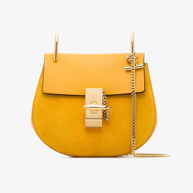 Chloé Yellow Drew Suede Leather Bag