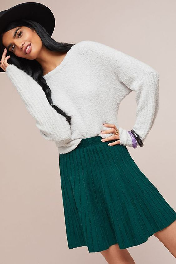 Knit Pleated Skater Skirts