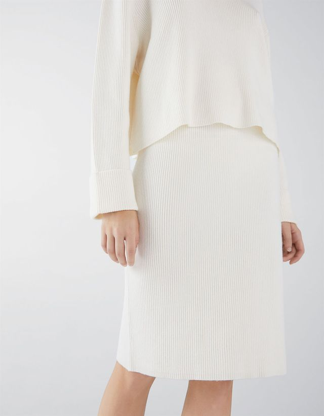White Knit Pleated Skirts