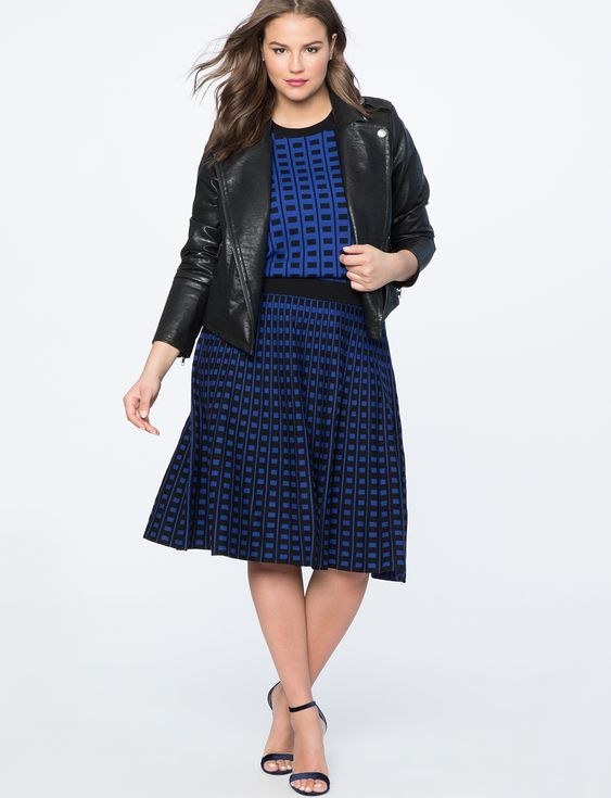 blue printed knit pleated skirts