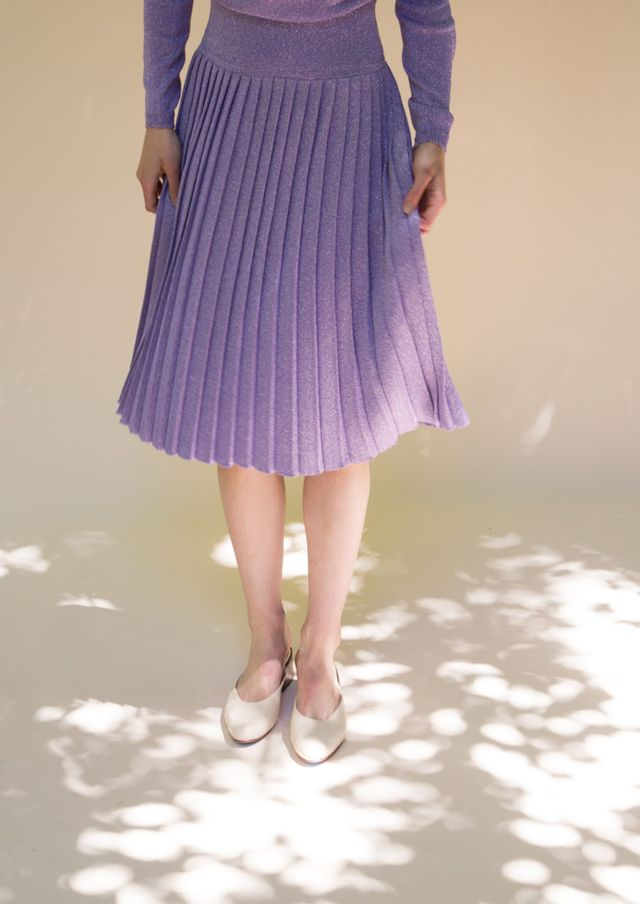 lavender knit pleated skirts