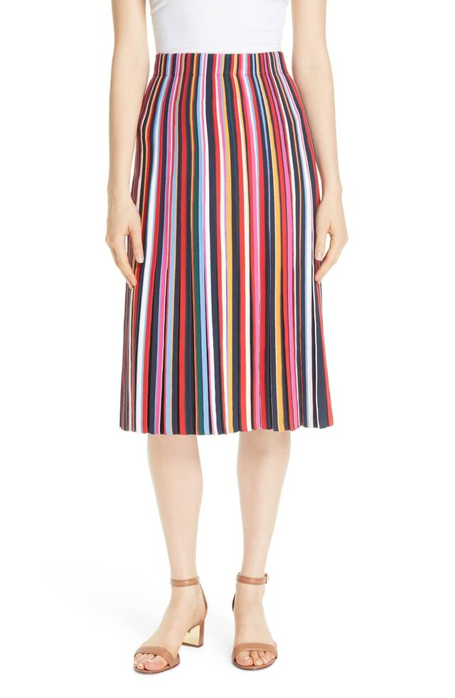 colorful Stripe  Knit Pleated Skirts