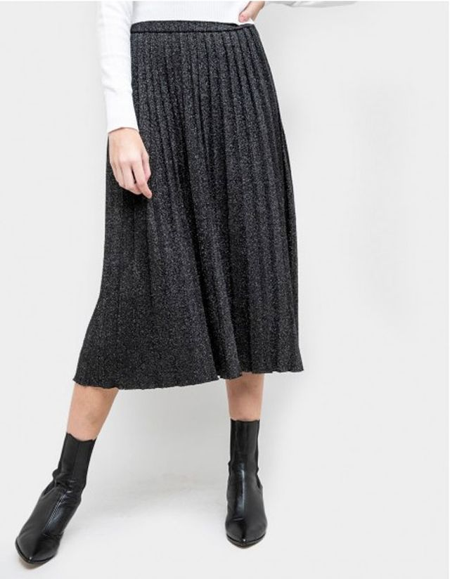 knit pleated gray skirts