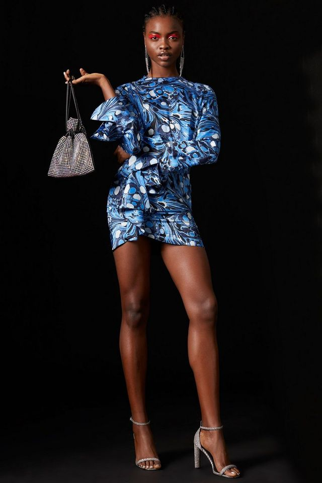 Topshop x Halpern Printed Sequin Skirt