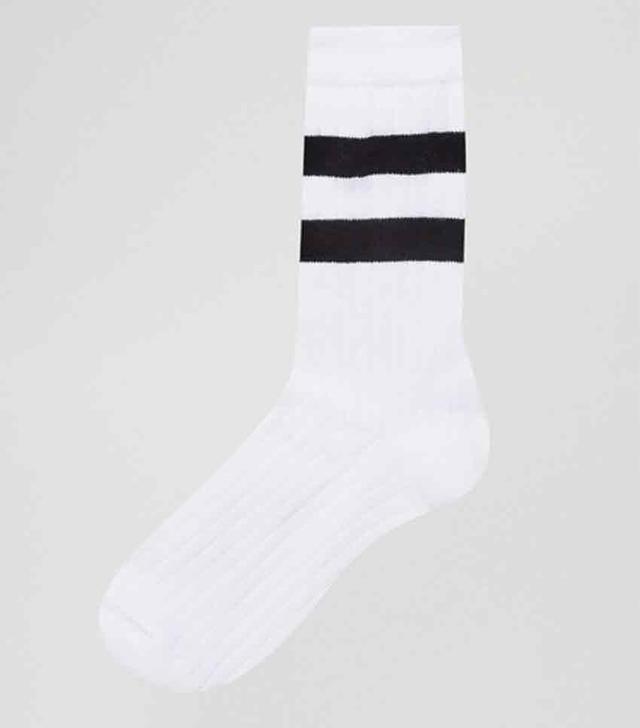 calf length stripe socks