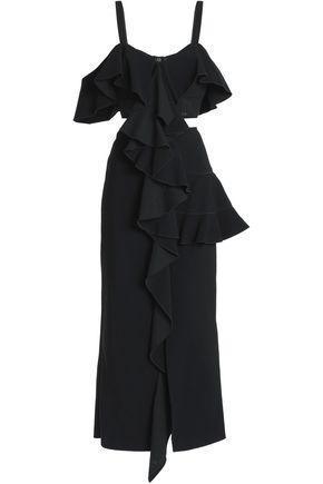 Cutout Ruffled Crepe Midi Dress