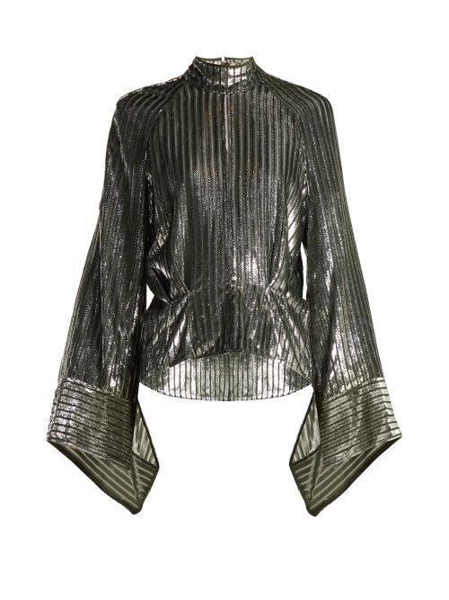 - Eartha Metallic Striped Blouse - Womens - Black Silver
