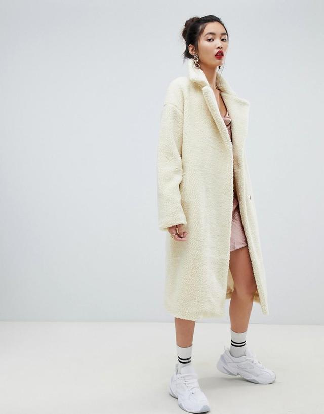 Na-kd big collar teddy coat in off white