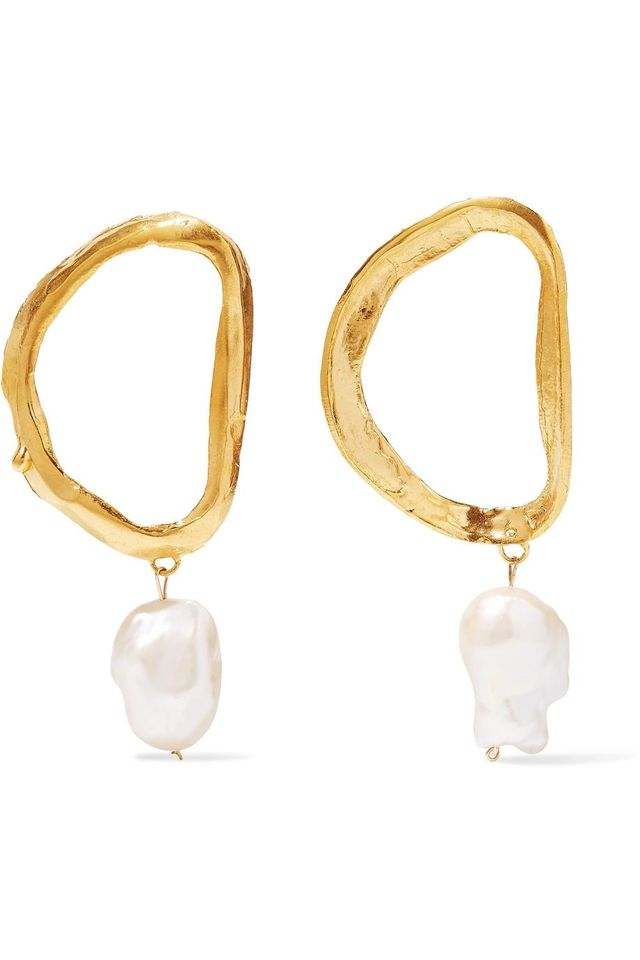 Dante's Shadow Gold-plated Pearl Earrings