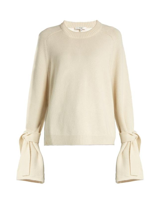 Classic French Terry Crew Neck Dress Sweater by Everlane in Bone