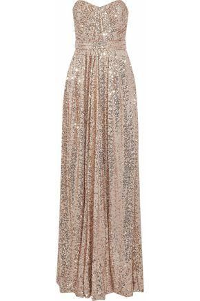 Strapless Gathered Sequined Mesh Gown