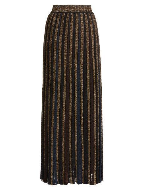 Missoni Metallic Striped Knitted Skirt
