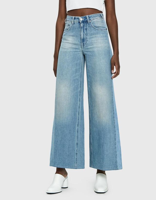Panel Detail Wide Leg Jeans