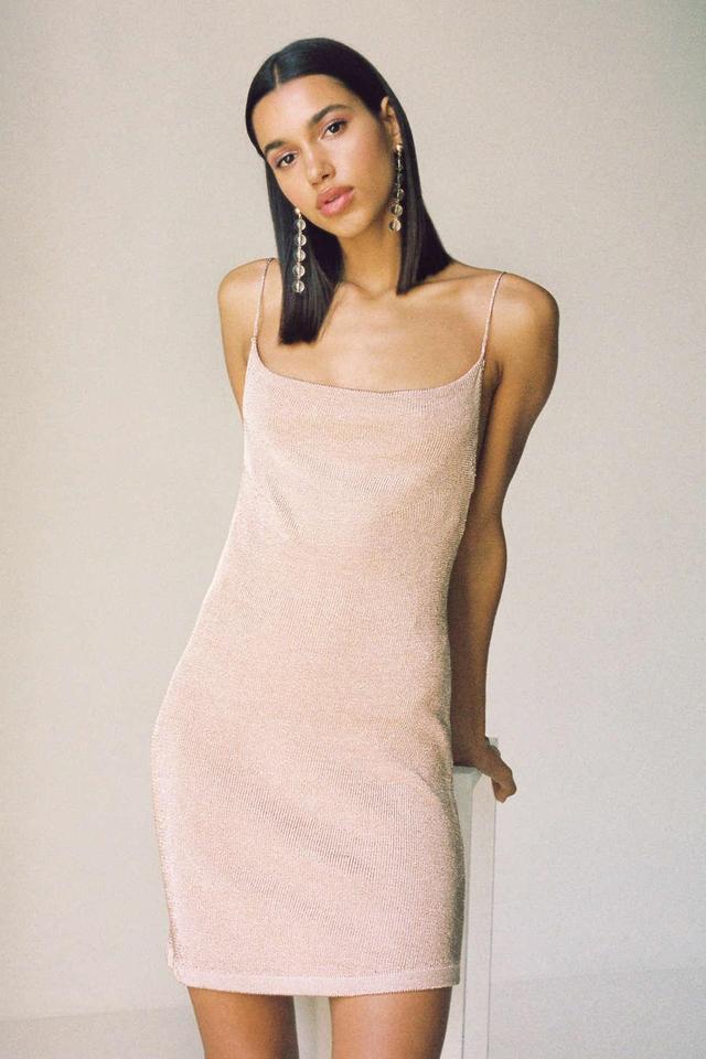 Dani Sparkly Metallic Cowl Neck Slip Dress