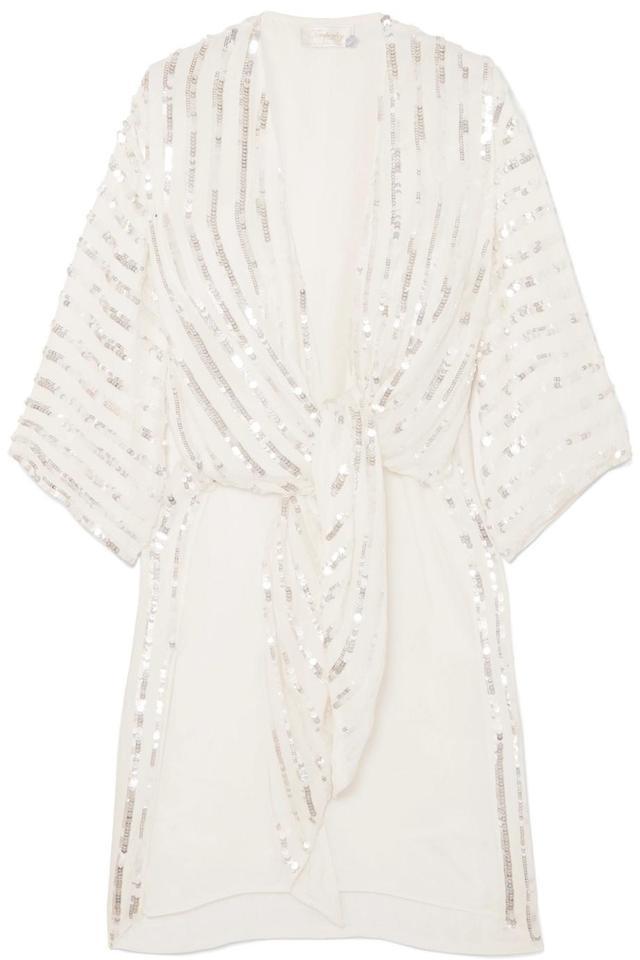 Neri Tie-front Sequin-embellished Crepe Kimono