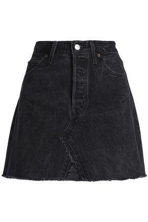 Frayed Distressed Denim Mini Skirt