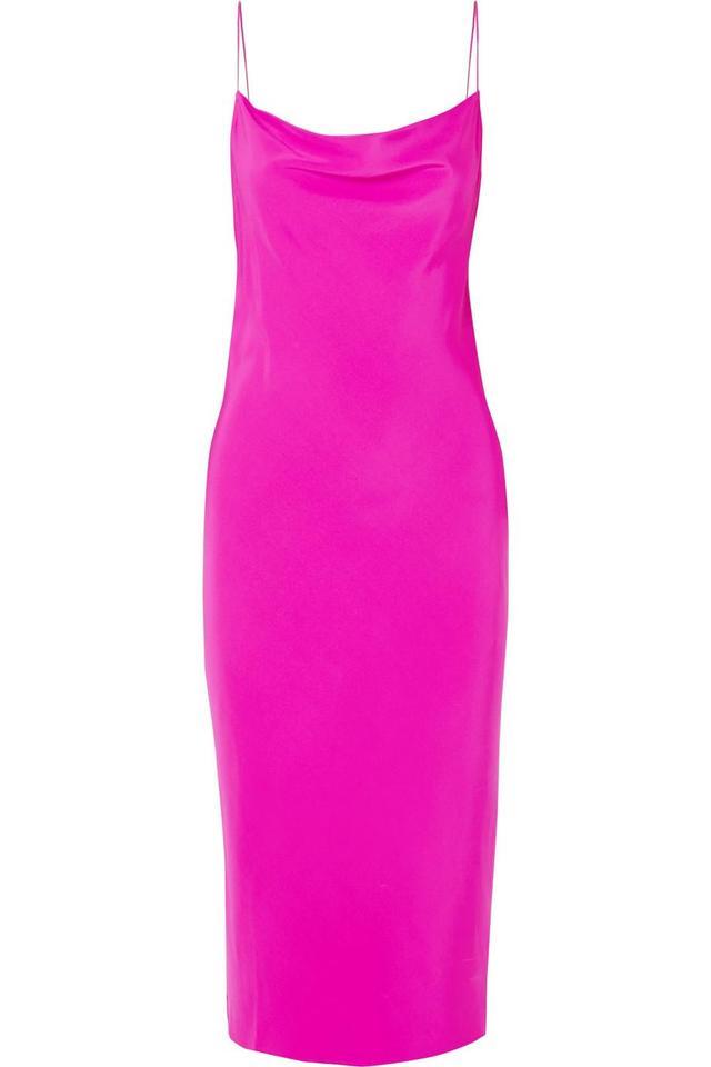 Draped Silk-Satin Twill Midi Dress