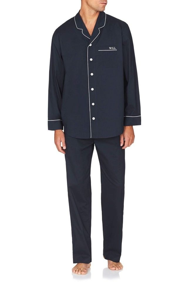 Jasmine and Will Mens Monogrammed Pyjama Set - Navy with White Trim
