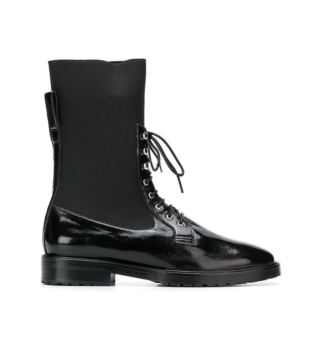 mid-calf lace-up boots
