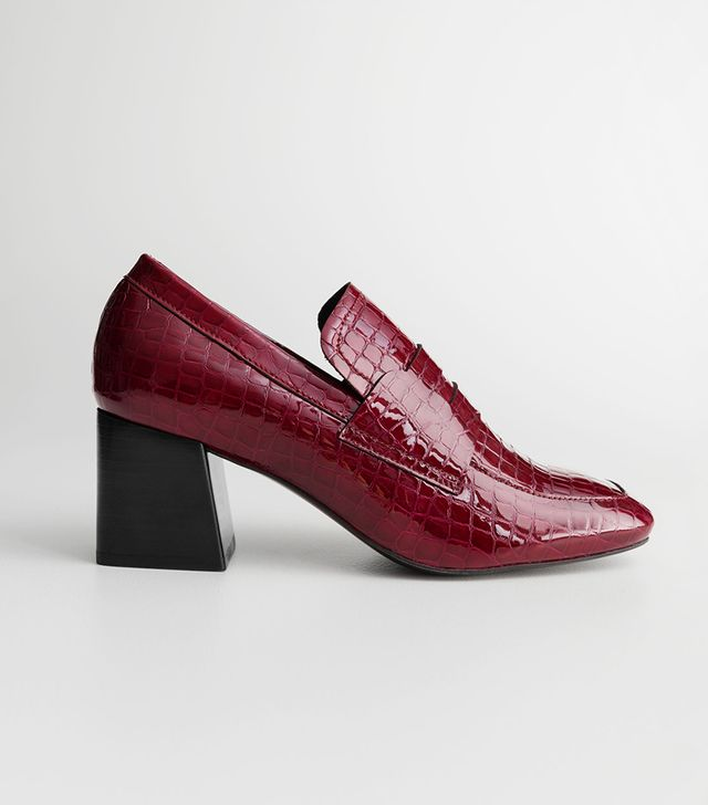 & Other Stories Patent Croc Heeled Loafers