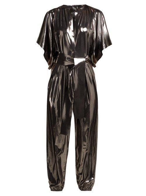 - Kimono Sleeve Metallic Lamé Jumpsuit - Womens - Silver