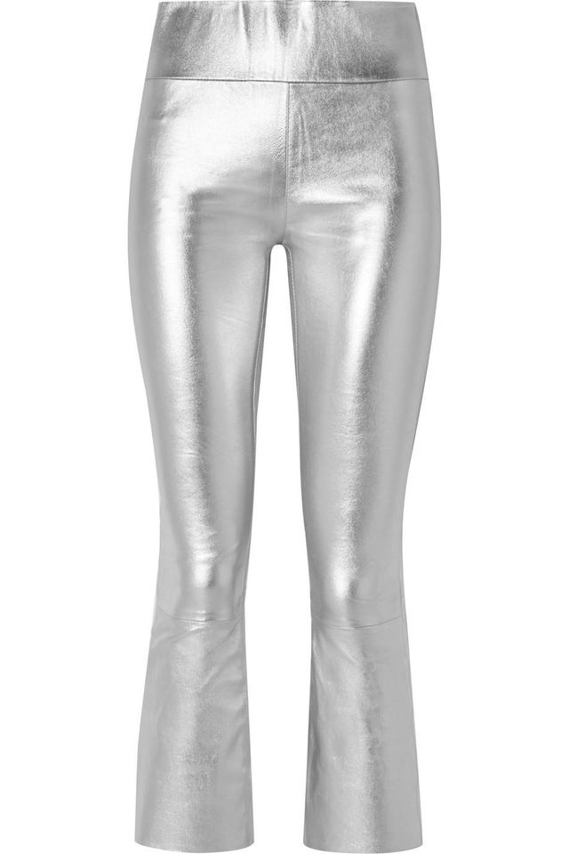 Cropped Metallic Stretch-leather Leggings