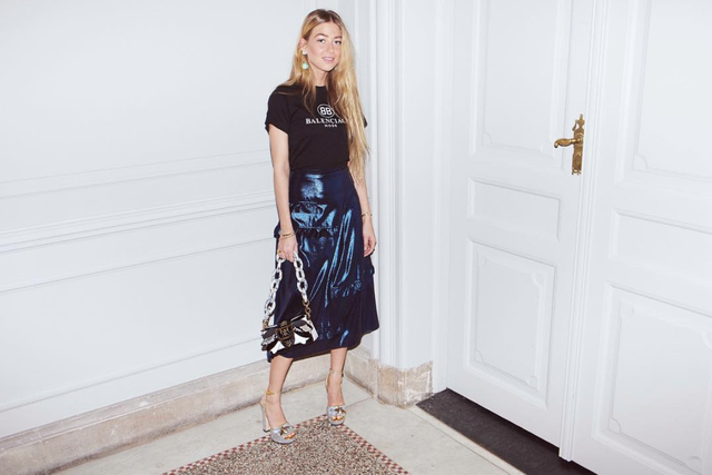 Metallic skirt outfit for New Year's