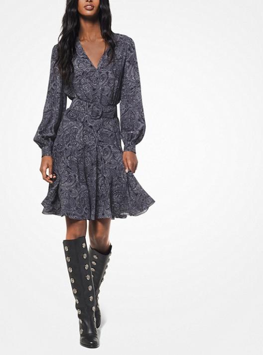 Michael Kors Paisley Silk-Georgette Dress