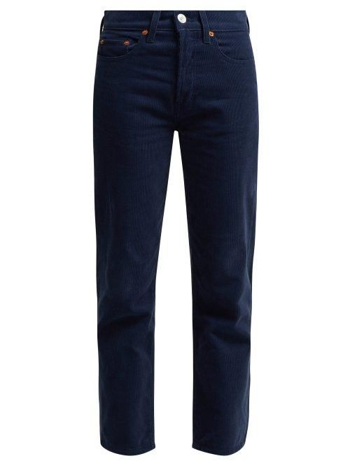 Re/done Originals - High Rise Stovepipe Corduroy Jeans - Womens - Navy