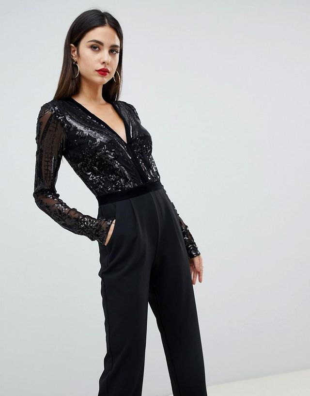 sequin embellished plunge jumpsuit in black
