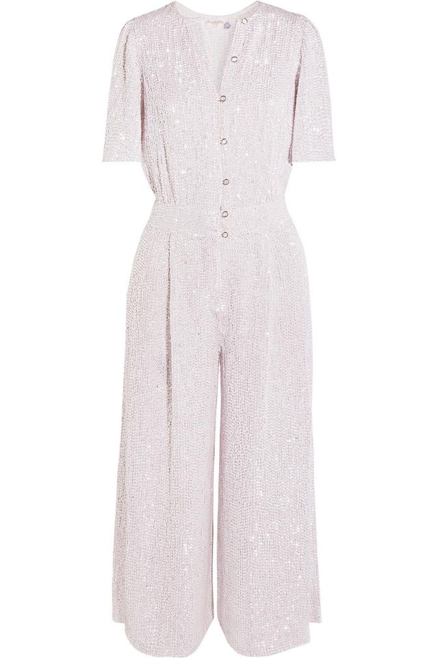 Olina Cropped Sequined Tulle Jumpsuit