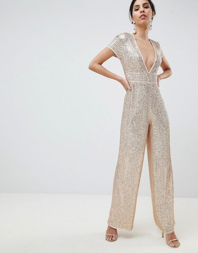 Embellished Plunge Jumpsuit With Wide Leg
