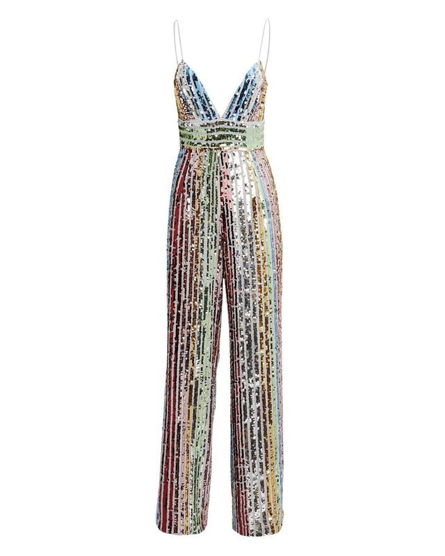 Saylor Jojo Sequin Jumpsuit White/Rainbow Sequins P