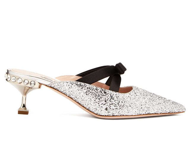 Miu Miu Glitter and Bow-Embellished Mules