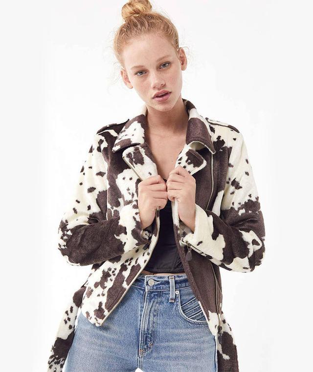UO Cow Print Faux Fur Moto Jacket
