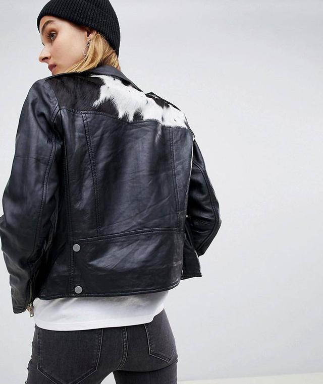 Laurel Leather Biker Jacket with Cow Skin Back Patch