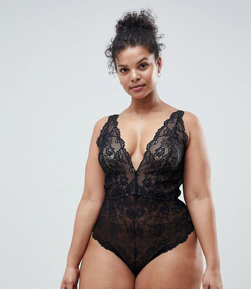 ASOS DESIGN Curve Blair high leg lace body with lace up back