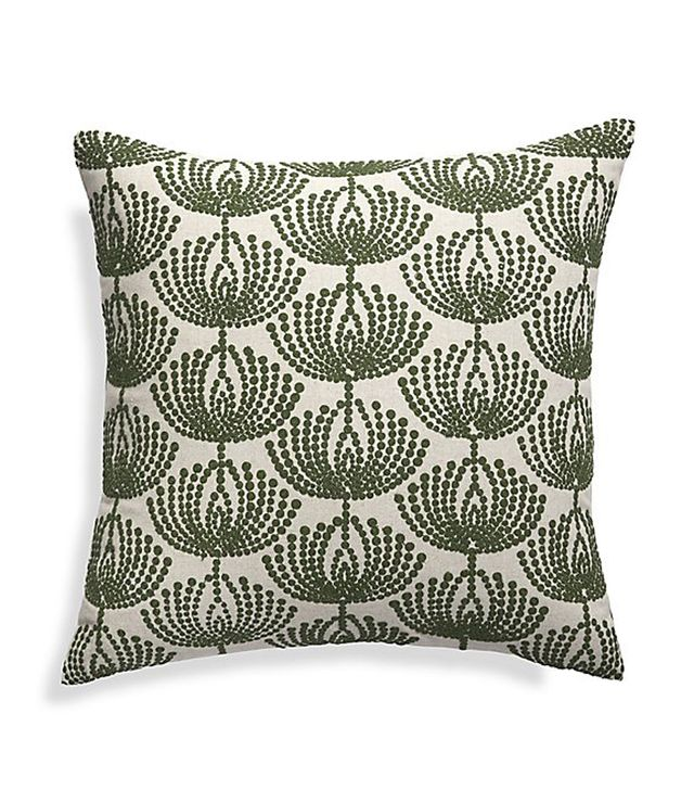 Crate & Barrel Anessa Green Botanical Pillow