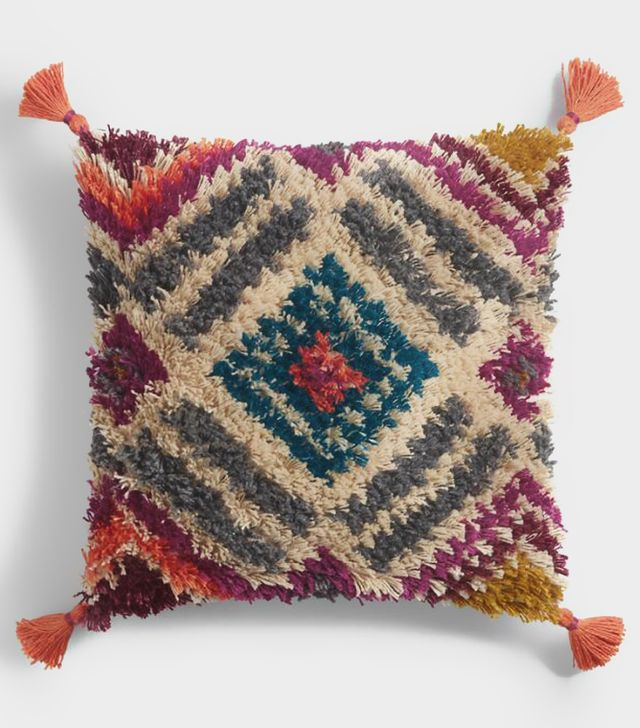 Cost Plus World Market Multicolor Diamond Shag Throw Pillow