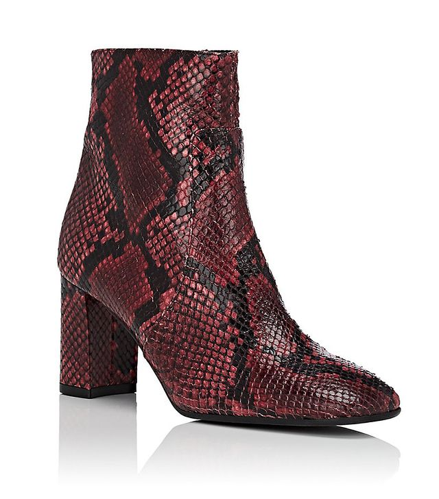 Women's Square-Toe Snakeskin Ankle Boots - Red Size 9.5