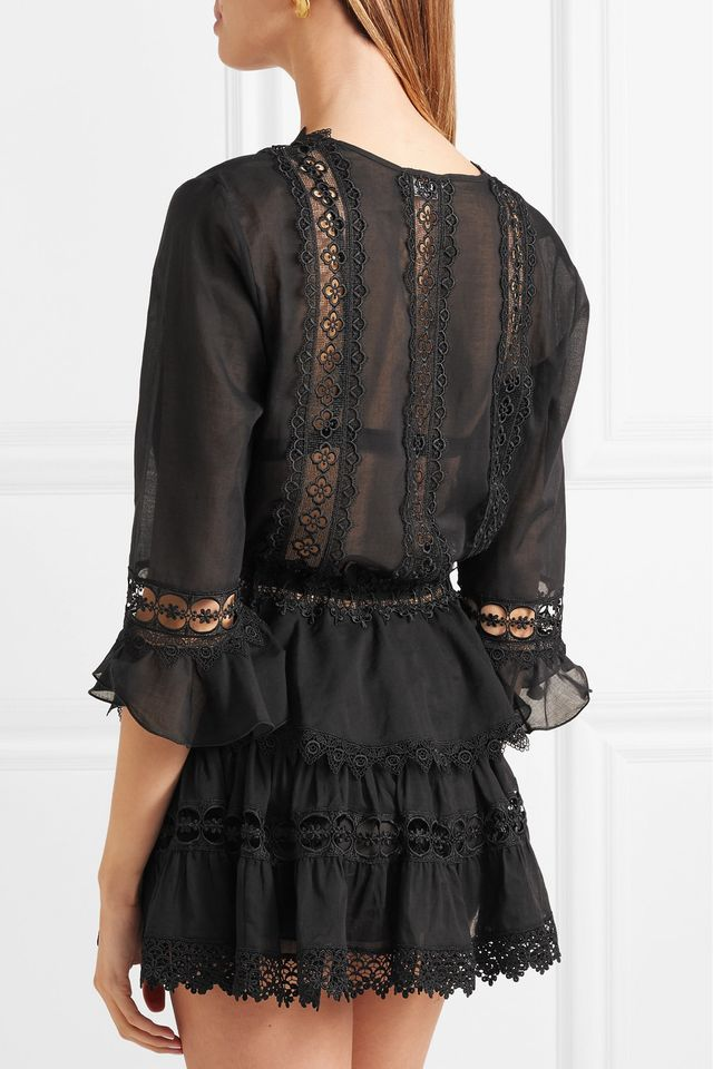 Edda Crocheted Lace-paneled Cotton-blend Kaftan