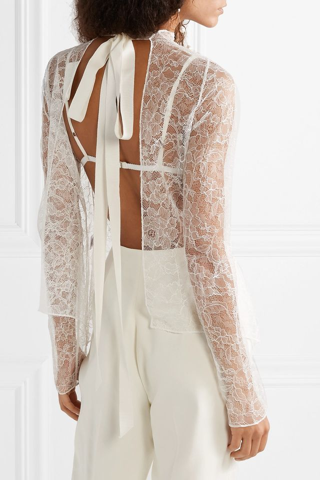Open-back Grosgrain-trimmed Chantilly Lace Top