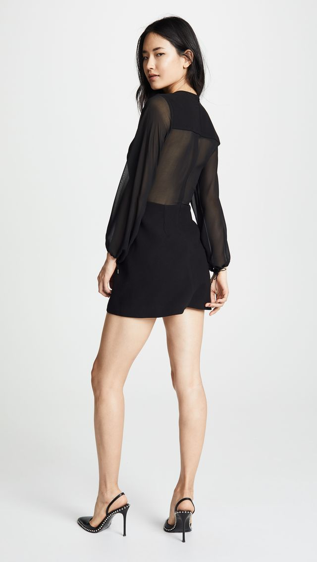 Sheer Solid Lacing Dress