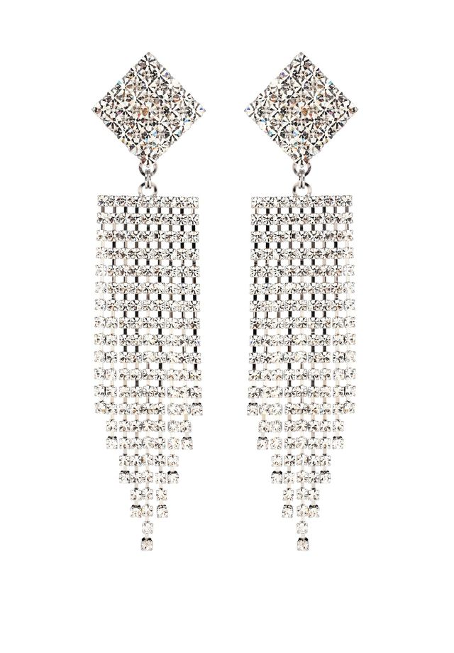 Alessandra Rich Crystal Waterfall Clip-On Earrings